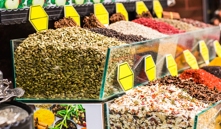 national fruit of china: Spices and teas on the Egyptian market in Istanbul.