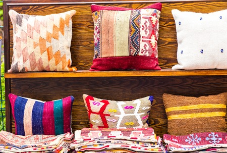 patterns and colors: Turkish traditional cushions at Grand Bazaar in Istanbul, Turkey