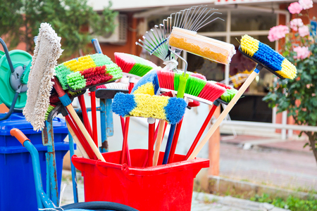 household goods: many different Cleaning accessories. Household goods stores Stock Photo