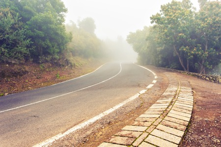 emptiness: Foggy Country Road. Fog creates a feel of emptiness as it leads to seemingly nowhere.