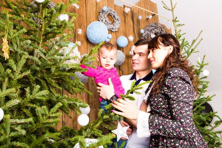 decorating christmas tree: Christmas Family Portrait In Home, House Decorating By Xmas Tree.