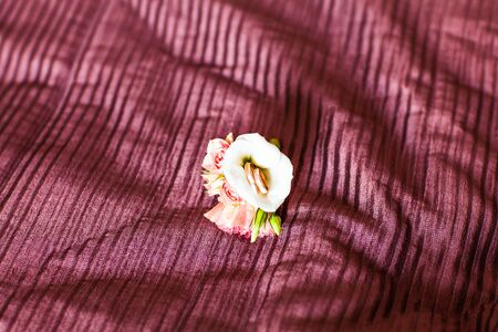 boutonniere: wedding boutonniere and wedding rings.  Wedding accessories Stock Photo