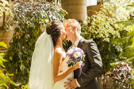 winter garden: wedding. beautiful couple kissing in the winter garden Stock Photo