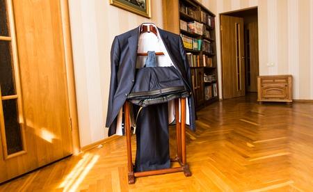 shirt hanger: Suit and shirt on hanger. Businessman suit Stock Photo