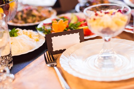 marrage: Wedding Reception Table with blank name settings. Stock Photo