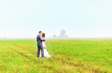eared: young beautiful wedding couple hugging in a field with grass eared.