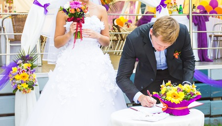signature: Happy wedding day - groom make the signature