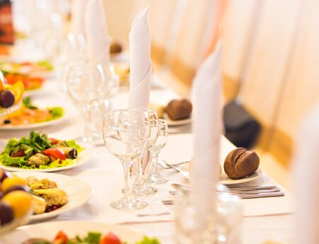 wedding reception decoration: Table set for an event party or wedding reception.