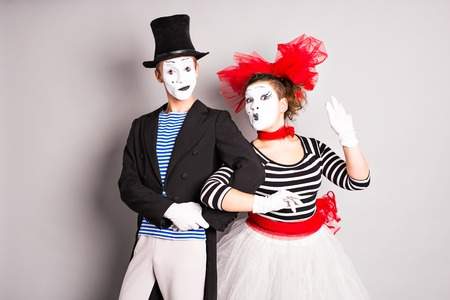 Two mimes man and  woman.The concept of Valentine's Day, April Fool's Day.