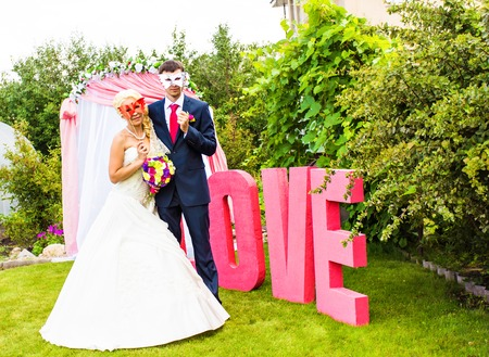 lurk: Bride and groom with funny carnival masks.