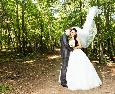 newly married couple: Newly married couple. Wind lifting long white bridal veil.