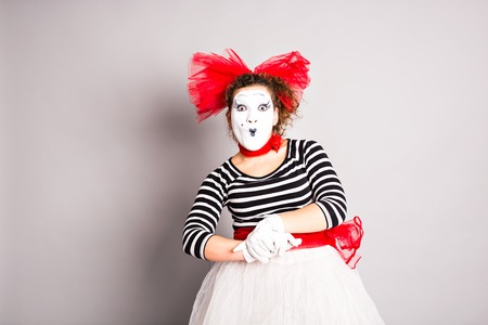 comedian: Portrait of a comedian  woman dressed up as a mime, April Fools Day concept.