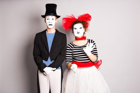 Two mimes man and  woman in april fools day. Stock Photo