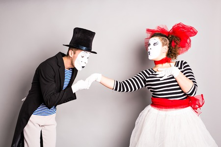 pantomime: Two mime, pantomime heart, valentine day concept, April Fools Day concept.