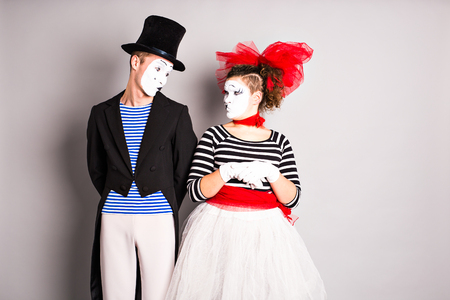 Street artists performing, Two mimes man and  woman in april fools day.