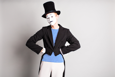 dramatic characters: Portrait of a male mime artist. Concept of  April Fools Day.