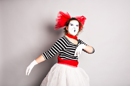 mime: Street artists performing, mime in  April Fools Day. Stock Photo