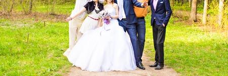 chose: wedding couple , groomsman and  bridesmaid, wedding guest Stock Photo