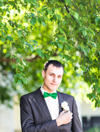 buttonhole: Groom in a suit holding buttonhole. Man with boutonniere Stock Photo
