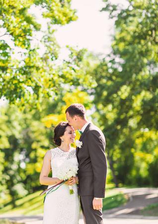 happy wedding: Happy bride and groom on their  wedding.