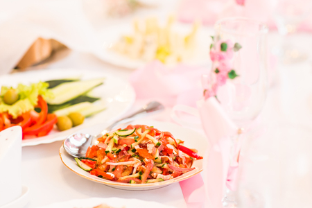 tasteful: food preparation catering at the outdoor wedding. Serving tasteful food, catering Stock Photo