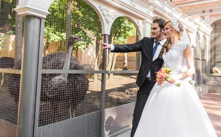 bruid en bruidegom en struisvogel in dierentuin. Stockfoto