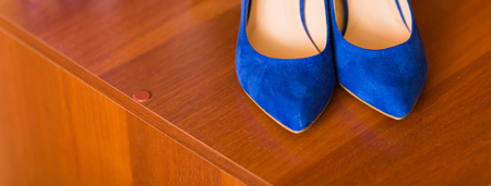 fetish wear: Blue suede women shoes. classic womens shoes Stock Photo
