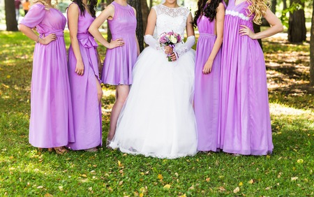 bridesmaids: Close up of bride and bridesmaids bouquet. Stock Photo