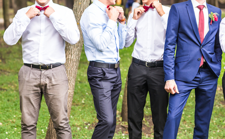 usher: Groom With Best Man And Groomsmen At Wedding. Stock Photo
