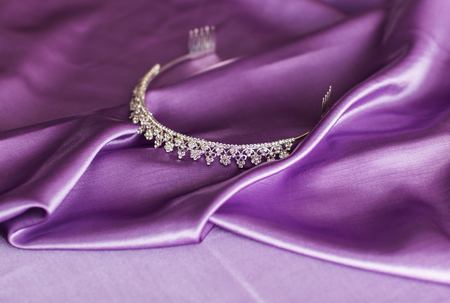 jewellry: Close-up of silver diadem on purple background