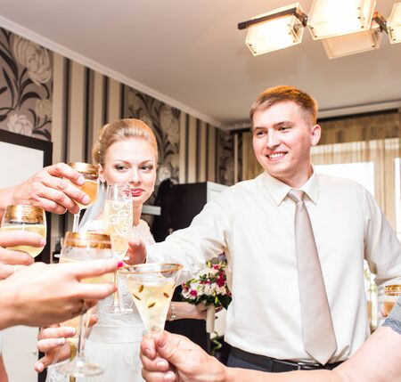 clinking: Wedding guests clinking glasses. Wedding party indoors