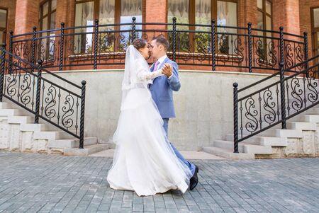 Beautiful wedding dance. Wedding party, bride and groom