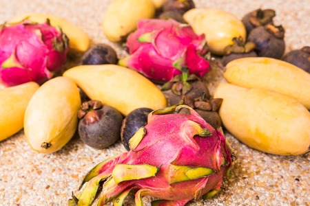 close up food: Close up of exotic fruits. Concept of healthy food