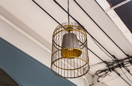 electrolier: large chandelier lamp in a cafe in the town.