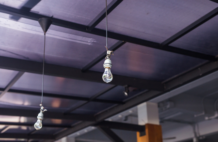 Incandescent lamps in a modern cafe. Edison lamp