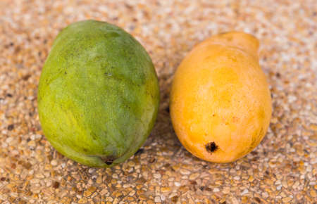 cutaneous: Yellow and green papaya on background. Fruits, diet, healthy food concept. Stock Photo