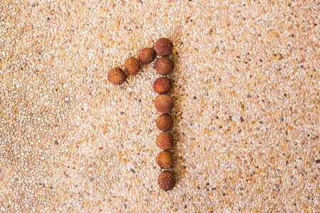 lichee: Number one concept made of fresh lichee. Stock Photo