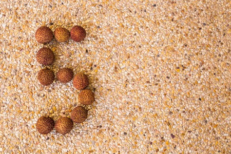 lichee: The number five 5 made out of fruit lichee. Stock Photo
