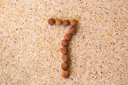 lichee: The number seven 7 made out of fruit lichee. Stock Photo