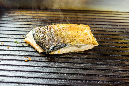 salmon roasted close up on home electronic grill plate tasty diet fish meal. Stock Photo