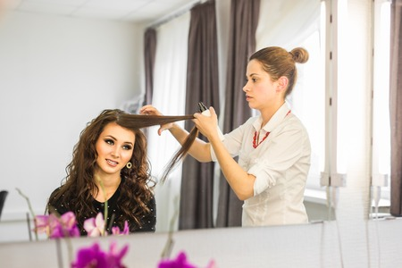 styler: working day inside the beauty salon. Hairdresser makes hair styling