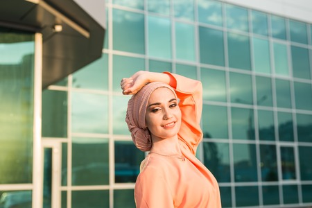 religious clothing: Portrait of a beautiful Arabian Woman wearing Hijab, Muslim Woman wearing Hijab Stock Photo