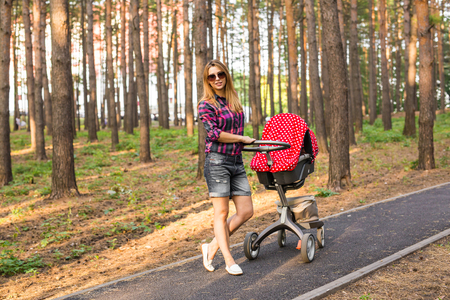 family, child and parenthood concept - happy mother walking with baby stroller in park. Stock Photo