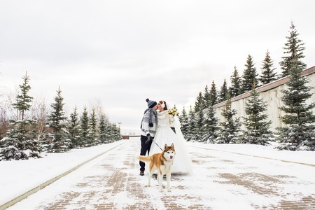 Wedding couple and a cute dog in winter time. Stock Photo