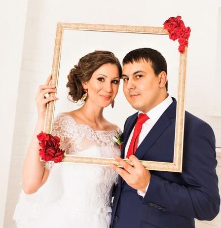 groom and bride portrait. Beautiful Wedding couple Stock Photo