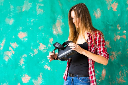 Young Woman using the virtual reality headset Stock Photo