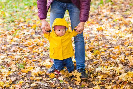 adult hand: Toddler boy holding hands with hir father outside on a fall day. Stock Photo