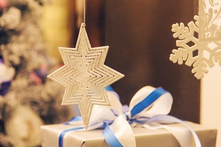 White Decorative Snowflakes as the Christmas Decor.