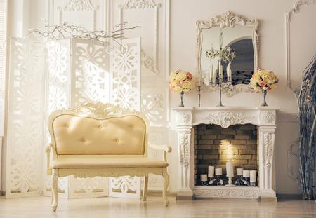 Luxury light interior of sitting room with old stylish vintage furniture