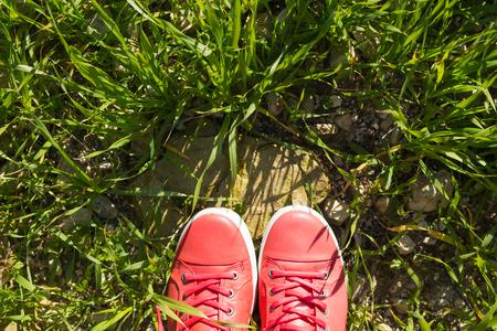 Feet in sneakers on green grass